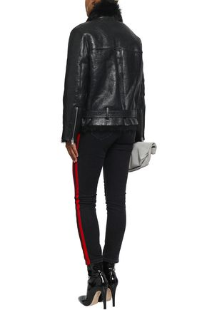 IRO Mantaa metallic shearling biker jacket