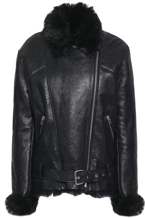 IRO Shearling-lined textured-leather jacket