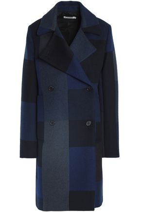JIL SANDER Double-breasted patchwork-effect wool and angora-blend coat