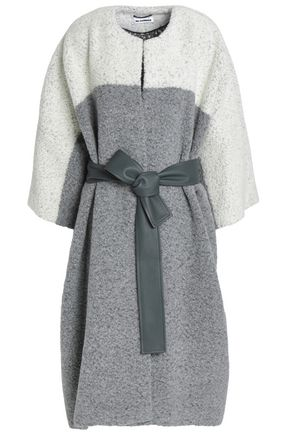 JIL SANDER Belted two-tone wool-blend bouclé coat
