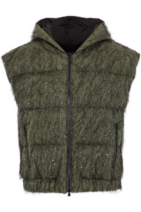 BRUNELLO CUCINELLI Tinsel-appliquéd cotton-blend shell hooded vest