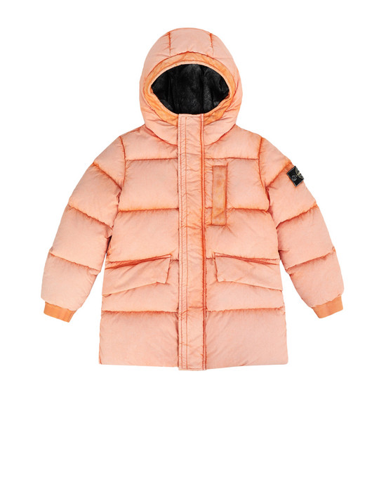 STONE ISLAND KIDS Mid-length jacket 40938 TELA NYLON DOWN WITH DUST COLOUR FROST FINISH