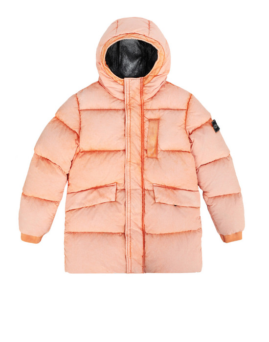 STONE ISLAND JUNIOR Mittellange Jacke 40938 TELA NYLON DOWN WITH DUST COLOUR FROST FINISH