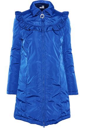 LOVE MOSCHINO Ruffle-trimmed crinkled-shell coat