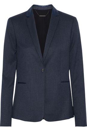 ELIE TAHARI Darcy leather-trimmed piqué blazer