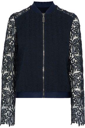 ELIE TAHARI Brandy guipure lace-paneled cotton-blend tweed jacket