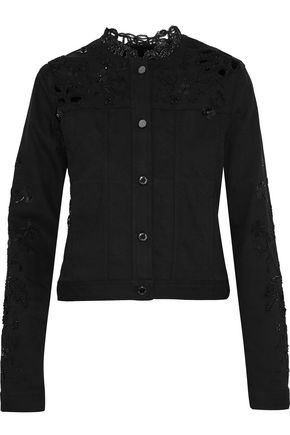 ELIE TAHARI Meggy guipure lace-paneled embellished denim jacket