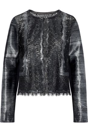 ELIE TAHARI Karlene laser-cut metallic calf hair jacket