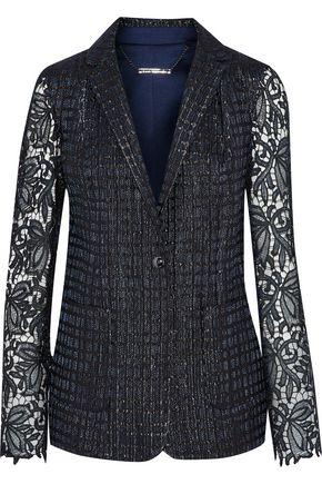 ELIE TAHARI Rooney metallic guipure lace-paneled jacquard blazer