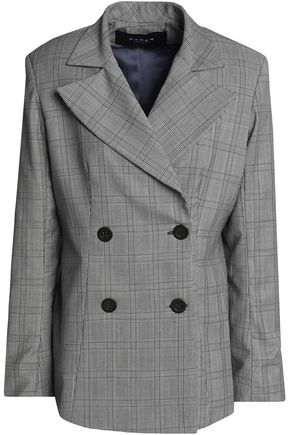 PAPER London Leni double-breasted Prince of Wales checked wool-blend blazer