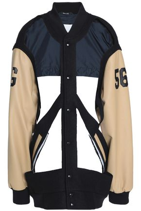 MAISON MARGIELA Cutout paneled leather and quilted shell jacket