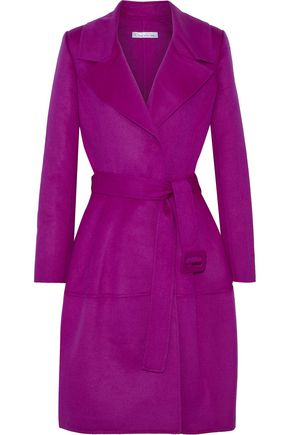 OSCAR DE LA RENTA Brushed wool, angora and cashgora-blend trench coat