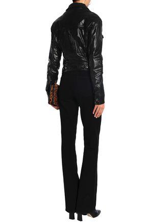 JUST CAVALLI Crystal-embellished coated denim jacket