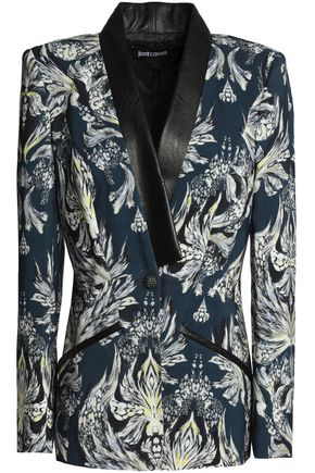 JUST CAVALLI Faux leather-trimmed printed jersey blazer