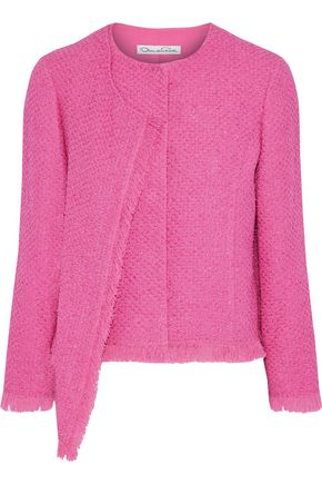 OSCAR DE LA RENTA Frayed draped cotton-blend tweed jacket
