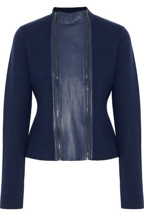ELIE TAHARI Amanka leather-paneled ribbed wool sweater