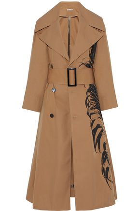 OSCAR DE LA RENTA Printed cotton-blend twill trench coat