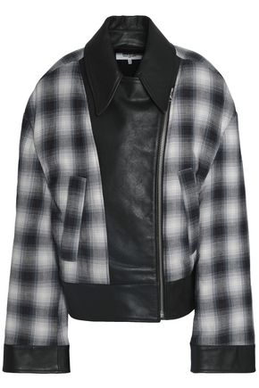 MM6 MAISON MARGIELA Faux leather-paneled checked cotton bomber jacket