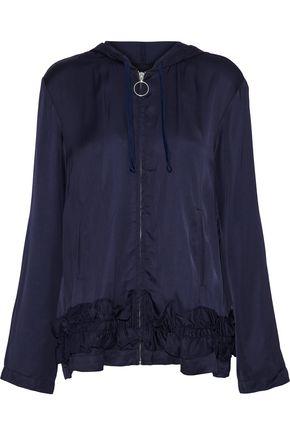 BAUM UND PFERDGARTEN Ruffle-trimmed satin hooded jacket