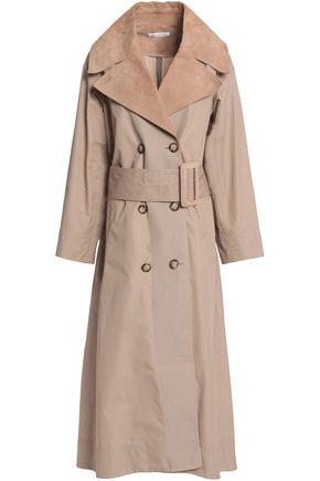 OSCAR DE LA RENTA Leather-trimmed cotton-twill trench coat