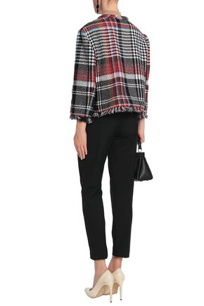 OSCAR DE LA RENTA Frayed checked cotton-blend jacket