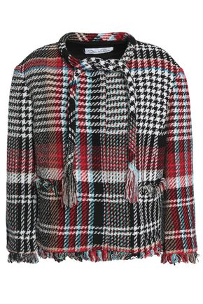 OSCAR DE LA RENTA Frayed checked cotton-blend jacket