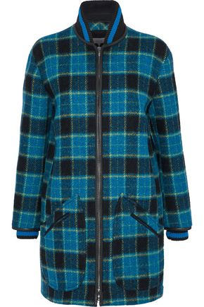 M MISSONI Leather-trimmed checked brushed wool coat