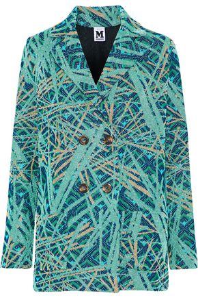M MISSONI Double-breasted metallic crochet-knit blazer