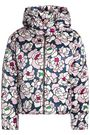 OLIVIA VON HALLE Quilted floral-print silk-satin hooded down coat