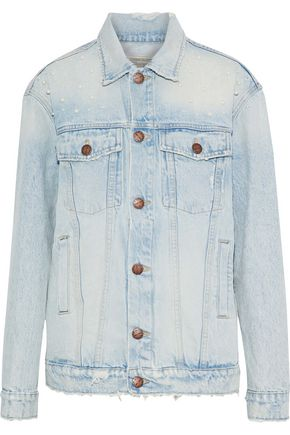 CURRENT/ELLIOTT The Boyfriend Trucker distressed denim jacket