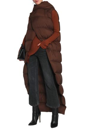 RICK OWENS Quilted shell hooded down vest