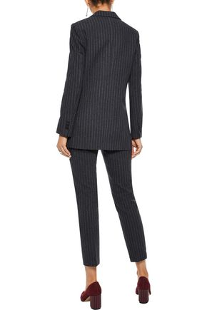 IRIS & INK Brandi pinstriped herringbone cotton-blend blazer