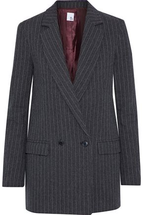 IRIS & INK Brandi pinstriped herringbone cotton-blend blazer