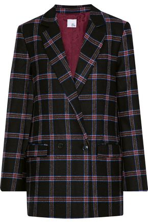 IRIS & INK Kristin double-breasted checked wool-blend blazer