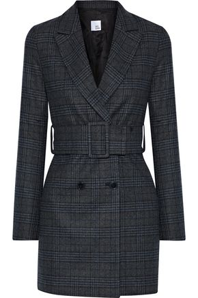 IRIS & INK Cindy belted checked wool-blend jacket