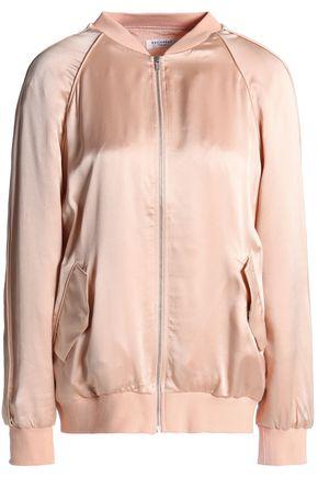 EQUIPMENT Satin-trimmed washed-silk bomber jacket