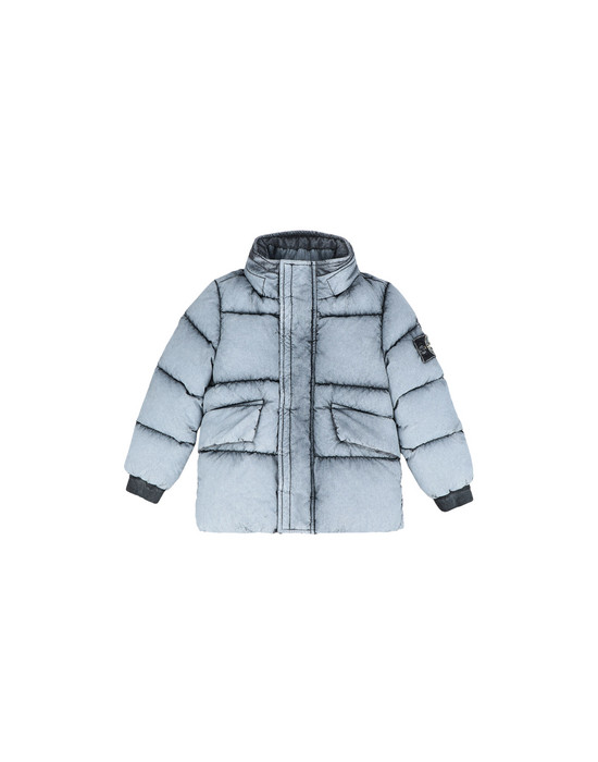 Mid-length jacket 41038 TELA NYLON DOWN WITH DUST COLOR FROST FINISH STONE ISLAND JUNIOR - 0