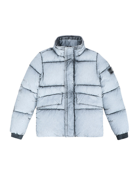 STONE ISLAND JUNIOR Mittellange Jacke 41038 TELA NYLON DOWN WITH DUST COLOUR FROST FINISH