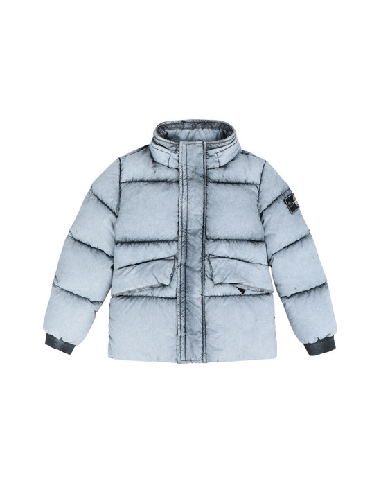 STONE ISLAND KIDS Mittellange Jacke 41038 TELA NYLON DOWN WITH DUST COLOUR FROST FINISH