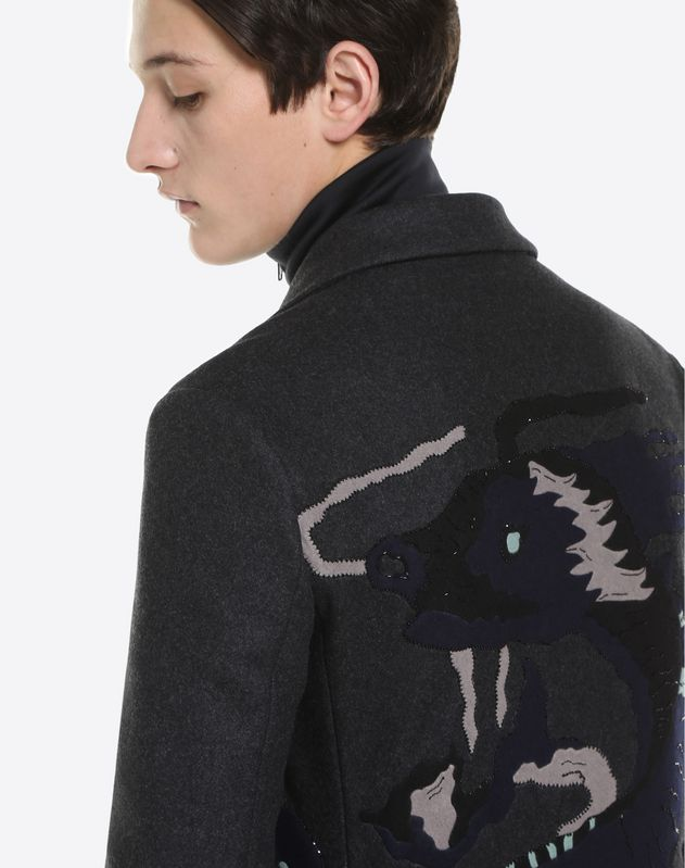 LONG COAT WITH DRAGON INTARSIA