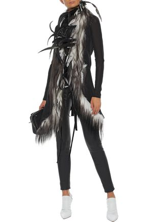 ANN DEMEULEMEESTER Embellished goat hair and wool-blend twill vest