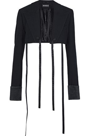 ANN DEMEULEMEESTER Cropped satin-trimmed wool-blend crepe jacket