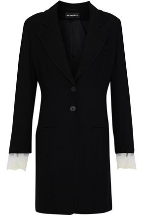 ANN DEMEULEMEESTER Lace-trimmed wool-blend jacket