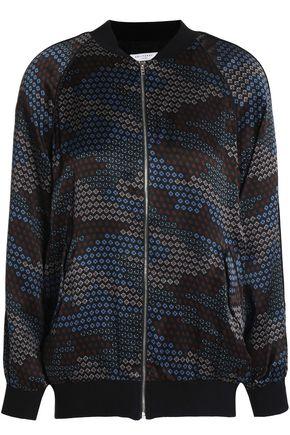EQUIPMENT Printed silk-satin bomber jacket