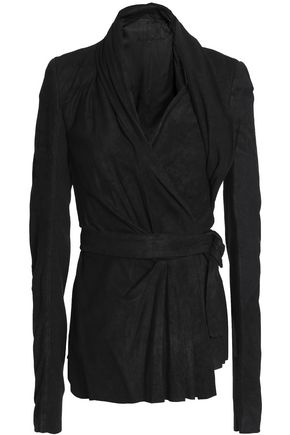 RICK OWENS Brushed-leather wrap jacket