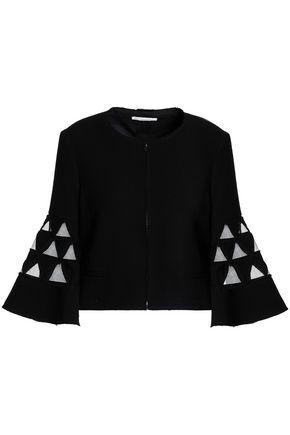 OSCAR DE LA RENTA Cutout embroidered wool-blend jacket