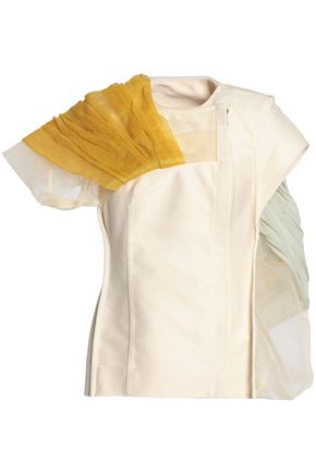 RICK OWENS Draped mesh, cotton-jersey and canvas jacket