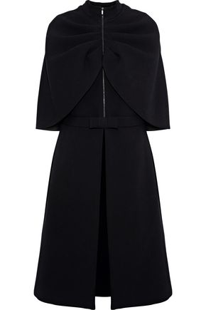 BRANDON MAXWELL Cape-effect bow-embellished crepe coat
