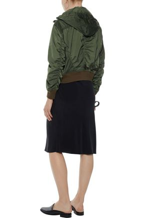 VINCE. Ruched shell hooded bomber jacket