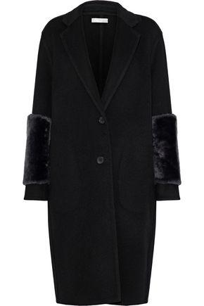 VINCE. Shearling-paneled wool-blend felt coat